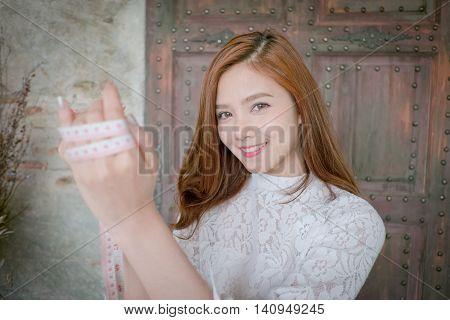 Beautiful  Fashion Designer Closeup Portrait