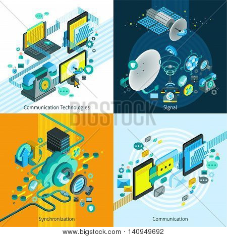 Telecom network mobile isometric 2x2 design concept with elements of synchronization and connection and satellite dish images vector illustration