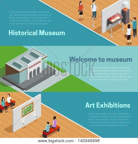Historical and art exhibitions with scenes in galleries and welcome to museum horizontal isometric banners vector illustration