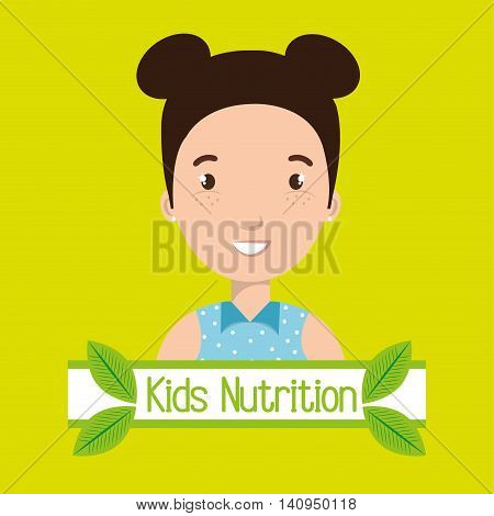 childhood fruits food healthy graphic vector illustration