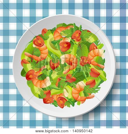 Salad with shrimps or prawns avocado fresh tomatoes arugula or rucola rocket spinach mangold leaves on plate or dish on blue-white tablecloth. Beautiful vector illustration. Top view close-up square