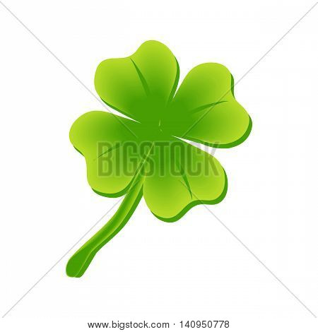 Illustration green clover leaf for luck. Raster