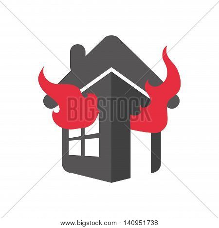 flame fire house home insurance accident protection icon. Isolated and flat illustration. Vector graphic
