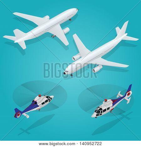 Passenger Airplane. Passenger Helicopter. Isometric Transportation. Aircraft Vehicle. Air Transportation Vector illustration