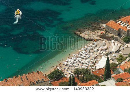 Pristine Adriatic sea around  Dubrovnik city, Croatia