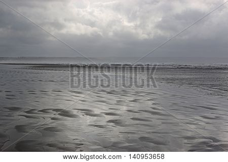 Storm clouds over Saunton Sands beach in Devon