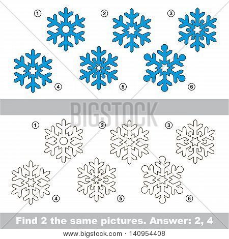 The design difference. Vector visual game for children. Simple level of difficulty. Easy educational game. Task and answer. Find two similar Snowflakes.