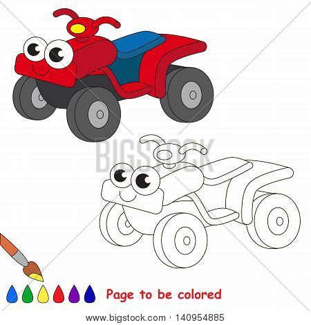Quad bike to be colored. Coloring book to educate kids. Learn colors. Visual educational game. Easy kid gaming and primary education. Simple level of difficulty. Coloring pages.