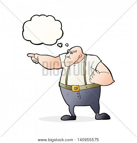 cartoon angry tough guy pointing with thought bubble