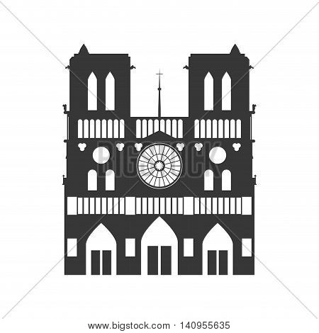 notre dame building paris france icon. Isolated and flat illustration. Vector graphic