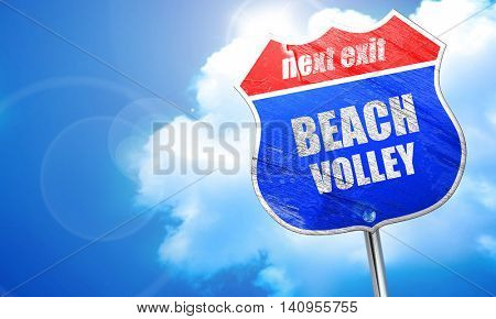 beach volley sign, 3D rendering, blue street sign