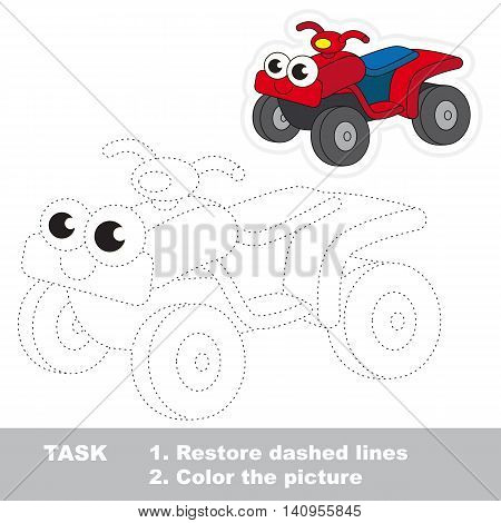Red Quad Bike in vector to be traced. Easy educational kid game. Simple level of difficulty. Restore dashed line and color the picture. Trace game for children.
