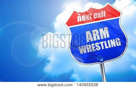 arm wrestling sign background, 3D rendering, blue street sign