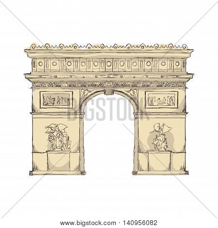 arch of triumph paris france building icon. Isolated and flat illustration. Vector graphic