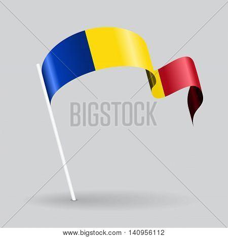 Romanian pin icon wavy flag. Vector illustration.