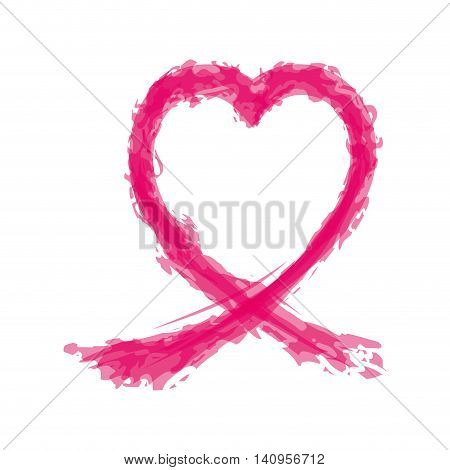 ribbon splash hope breast cancer pink icon. Isolated and flat illustration. Vector graphic