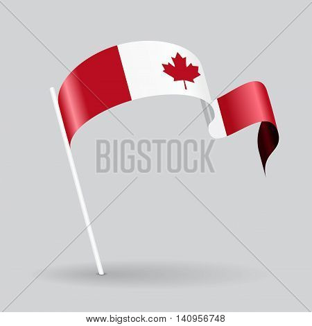 Canadian pin icon wavy flag. Vector illustration.