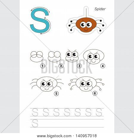 Vector illustrated alphabet with kid games. Learn handwriting. Game for children. Gaming and education. The easy level. Drawing tutorial for letter S. The spider.