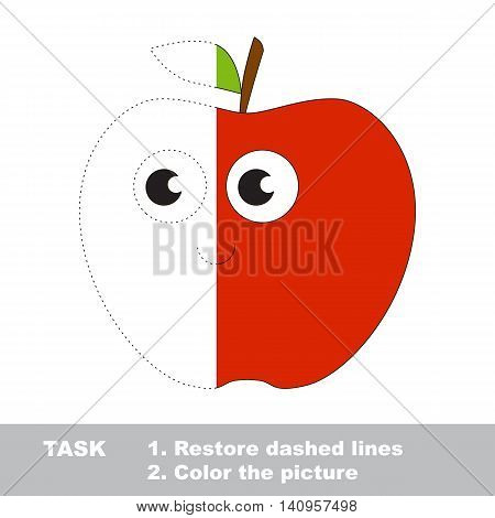 Red apple in vector to be traced. Restore dashed line and color the picture. Visual game for children. Easy educational kid gaming. Simple level of difficulty. Worksheet for kids education.