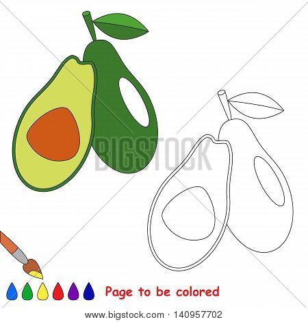 Green avocado to be colored. Coloring book to educate kids. Learn colors. Visual educational game. Easy kid gaming and primary education. Simple level of difficulty. Coloring pages.