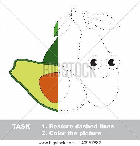 Ripe Avocado in vector to be traced. Restore dashed line and color the picture. Visual game for children. Easy educational kid gaming. Simple level of difficulty. Worksheet for kids education.