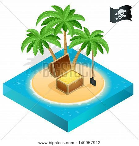 Pirate treasure on a tropical beach with palm trees and treasures