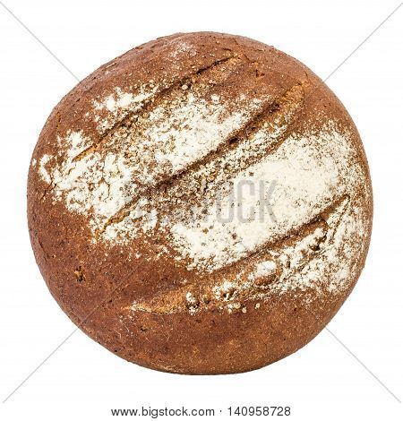 Bread with appetizing crunchy crust top view isolated on white background