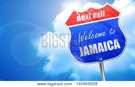 Welcome to jamaica, 3D rendering, blue street sign