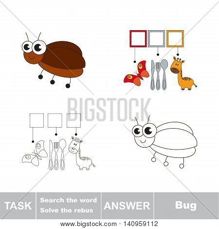 Vector rebus game for children. Easy educational kid game. Simple game level. Find solution and write the hidden word Bug
