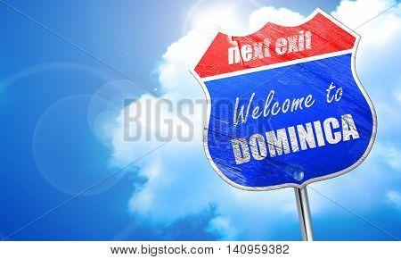 Welcome to dominica, 3D rendering, blue street sign
