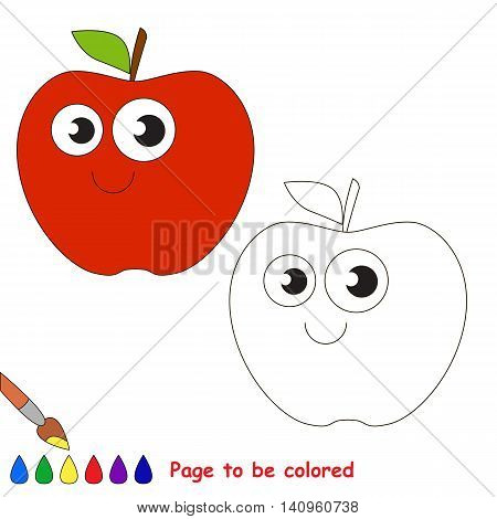 Apple to be colored. Coloring book to educate kids. Learn colors. Visual educational game. Easy kid gaming and primary education. Simple level of difficulty. Coloring pages.