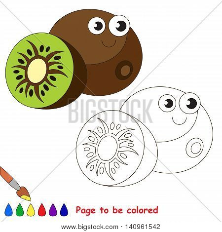 Funny kiwi to be colored. Coloring book to educate kids. Learn colors. Visual educational game. Easy kid gaming and primary education. Simple level of difficulty. Page for coloring.