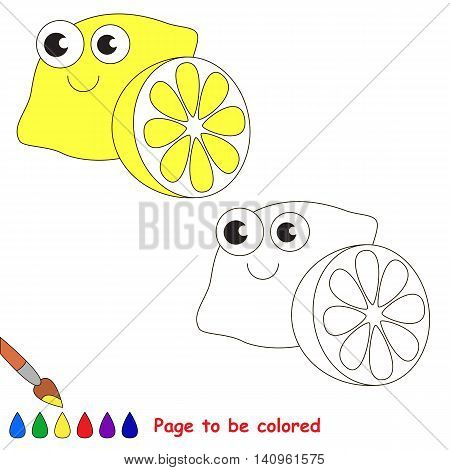 Funny Yellow Lemon to be colored. Coloring book to educate kids. Learn colors. Visual educational game. Easy kid gaming and primary education. Simple level of difficulty. Coloring pages.