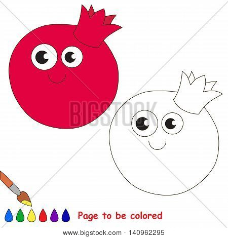 Funny pomegranate to be colored. Coloring book to educate kids. Learn colors. Visual educational game. Easy kid gaming and primary education. Simple level of difficulty. Page for coloring.