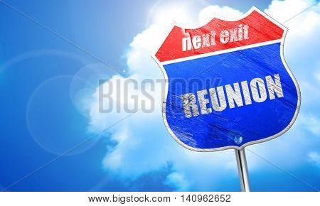 reunion, 3D rendering, blue street sign