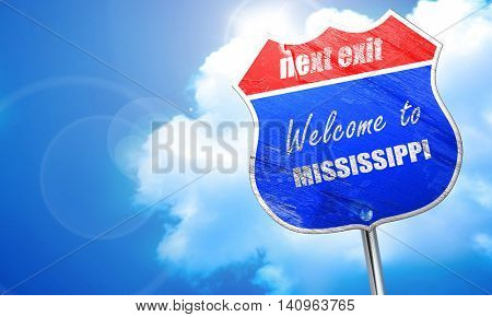 Welcome to mississippi, 3D rendering, blue street sign