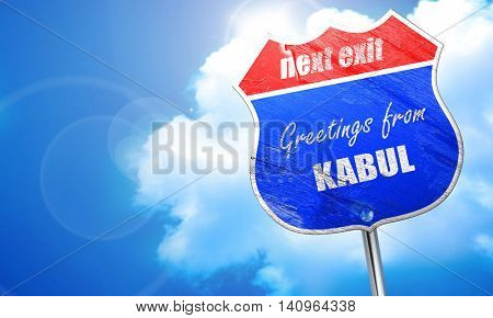 Greetings from kabul, 3D rendering, blue street sign