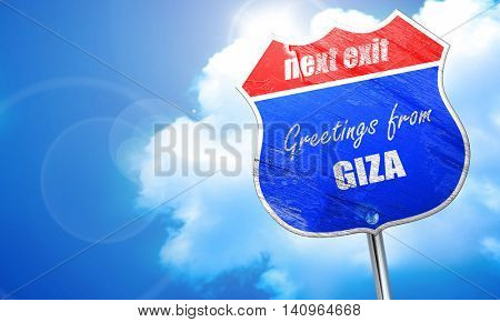 Greetings from giza, 3D rendering, blue street sign