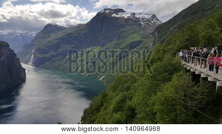Geiranger fjord View point in Norway, Scandinavia
