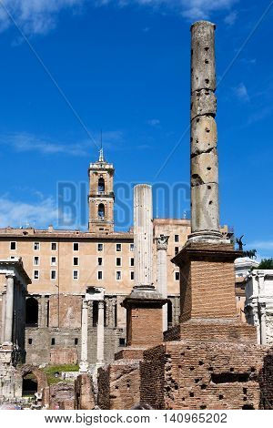 ROME, ITALY, MAY 09, 2012:  The ruins of the Roman Forum would not miss any visitor to Rome