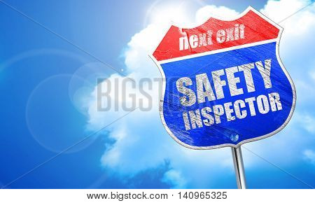 safety inspector, 3D rendering, blue street sign