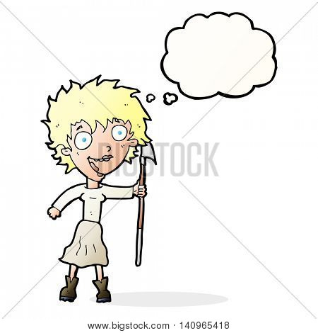 cartoon crazy woman with spear with thought bubble