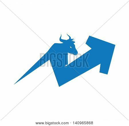 arrow direction increase bull profit icon. Isolated and flat illustration. Vector graphic