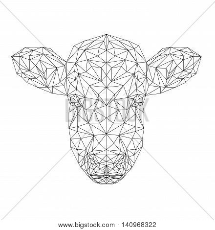 Bull polygonal animal. Vector cow illustration for wallpaper and printing on t-shirts. Cow silhouette in thin line style.