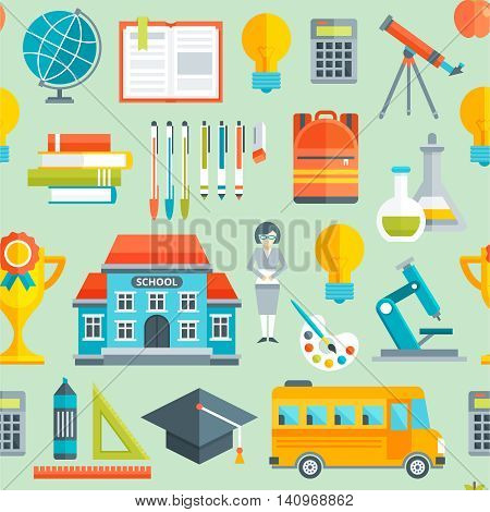 School seamless pattern with textbooks bus building teacher backpack flasks rulers globe on green background vector illustration