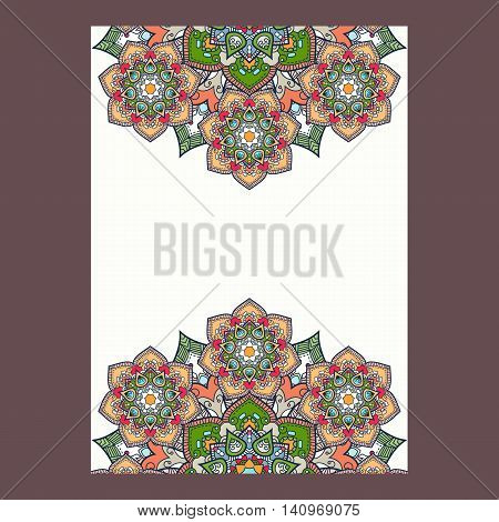 Indian paisley boho mandalas frame vertical format. Vector illustration