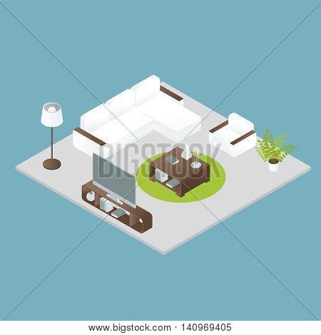 Isometric interior design of white soft furniture round green carpet grey floor on blue background vector illustration