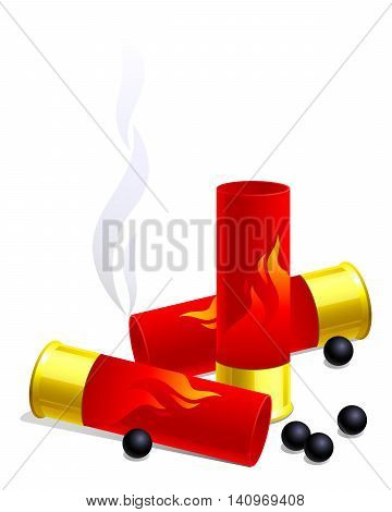 Hunting still-life. Isolated on white background. Vector illustration