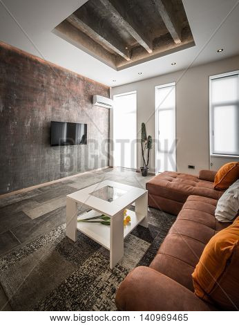 Modern Interior Design Of Living Room With Ceiling Detail