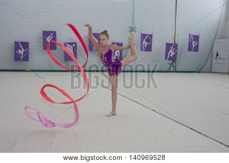 Warsaw Poland - June 25 2016:A gymnast with the sash